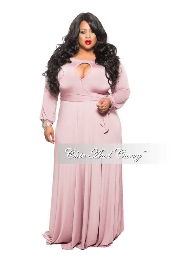 New Plus Size Long Dress with Keyhole and Slit in Rose