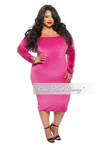 Final Sale (Seasonal) Plus Size Velour BodyCon Dress with Off the Shoulder Long Sleeves in Pink