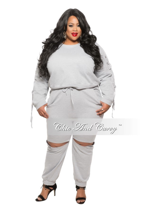 New Plus Size 2-Piece Jogger Set with Split Knee in Grey