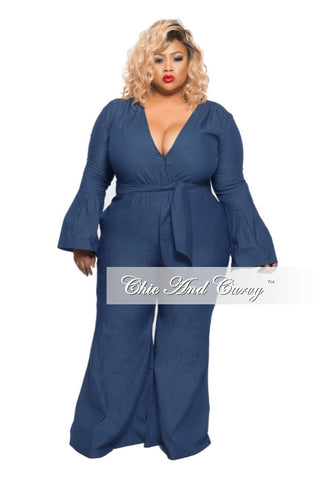 New Plus Size Jumpsuit with Bell Sleeves and Flared Leg in Dark Denim