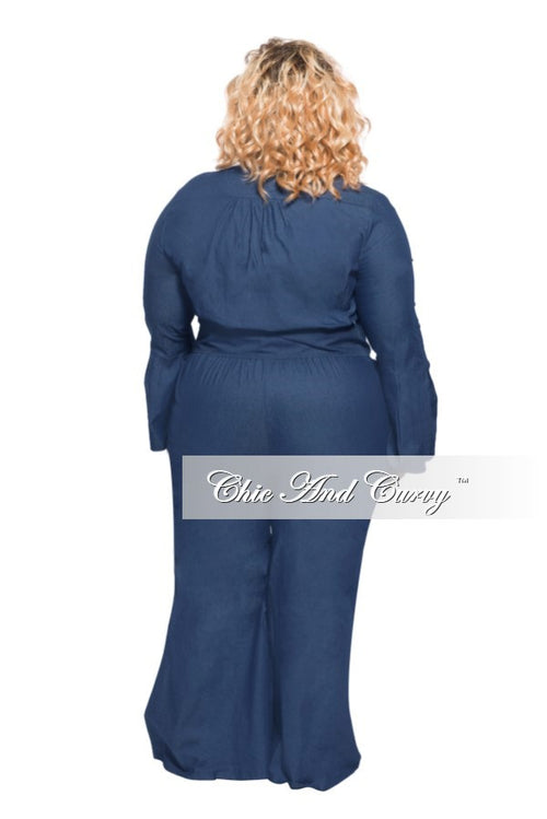 Final Sale Plus Size Jumpsuit with Bell Sleeves and Flared Leg in Dark Denim