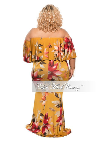New Plus Size BodyCon Off the Shoulder Floor Length Dress in Mustard Floral Print