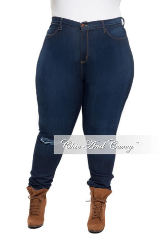 Final Sale Jeans with Ripped Knee in Dark Denim