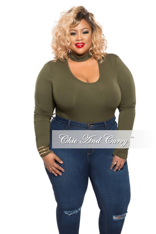 Final Sale Plus Size Leotard with Choker Neck and Long Sleeves in Olive