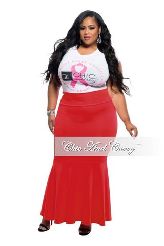 New Plus Size Mermaid Skirt in Red