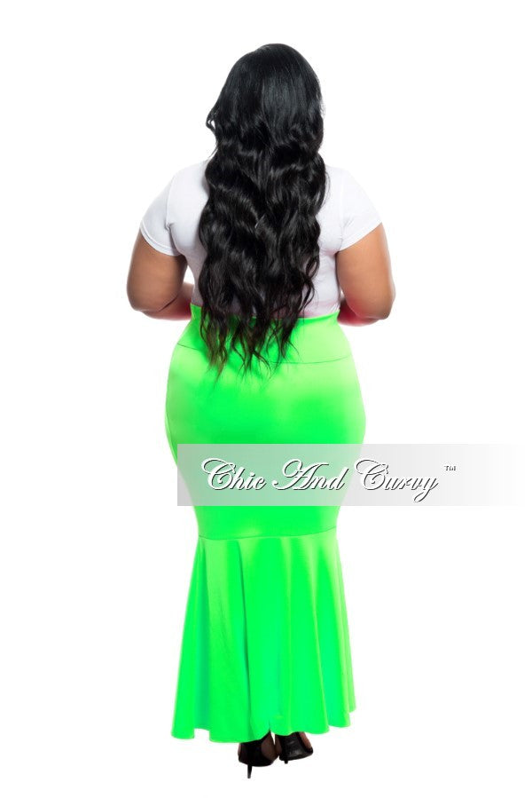 New Plus Size Mermaid Skirt in Neon Green