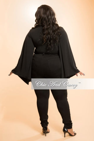 Final Sale Plus Size Slit Sleeve Leotard in Black