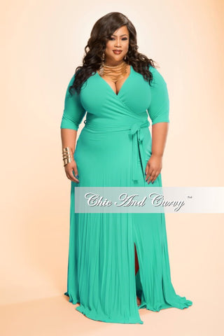 New Plus Size Long Wrap Dress w/ Short Sleeve and Tie in Kelly Green