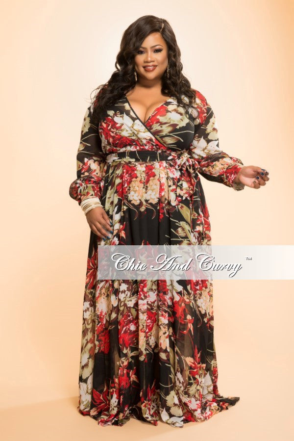 New Plus Size Chiffon Dress in Black and Red Floral Print