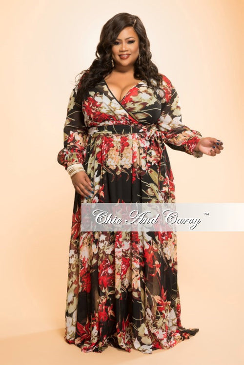 50% Off Sale - Final Sale Plus Size Chiffon Dress in Black and Red Floral Print