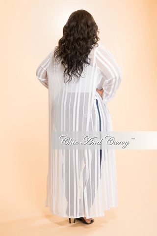 Final Sale Plus Size Sheer Duster with Slits in White