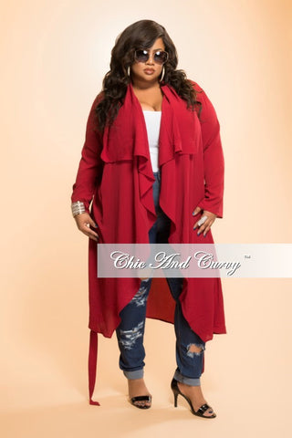 New Plus Size Jacket with Tie in  Burgundy