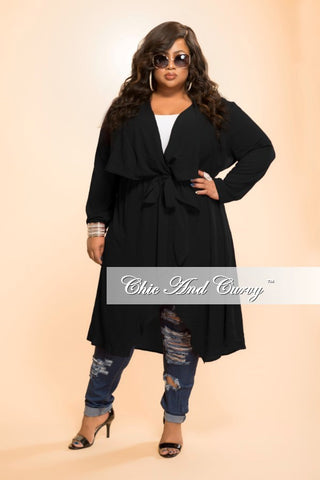 New Plus Size Jacket with Tie in  Black