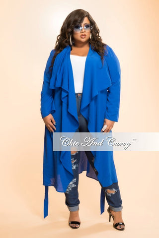 New Plus Size Jacket with Tie in  Blue