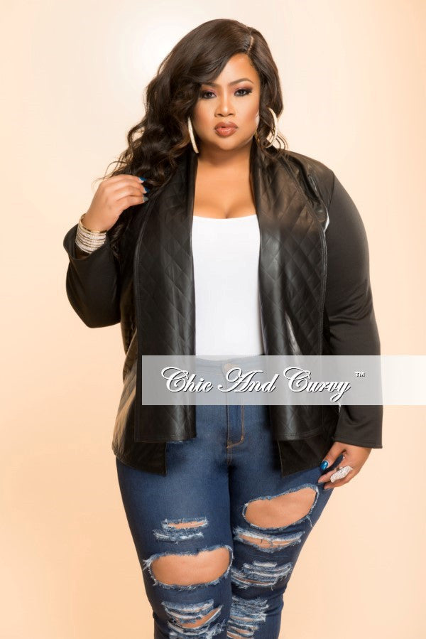New Plus Size Long Sleeve Cardigan/ Jacket in Black w/ Textured Faux Leather Body