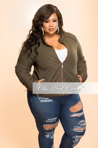 Final Sale Plus Size Puff Jacket with Gold Zipper in Olive