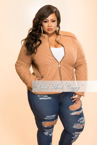 Final Sale Plus Size Puff Jacket with Gold Zipper in  Camel