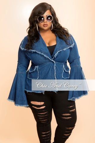 New Plus Size Jacket with Bell Sleeves and Frayed Edges in Denim