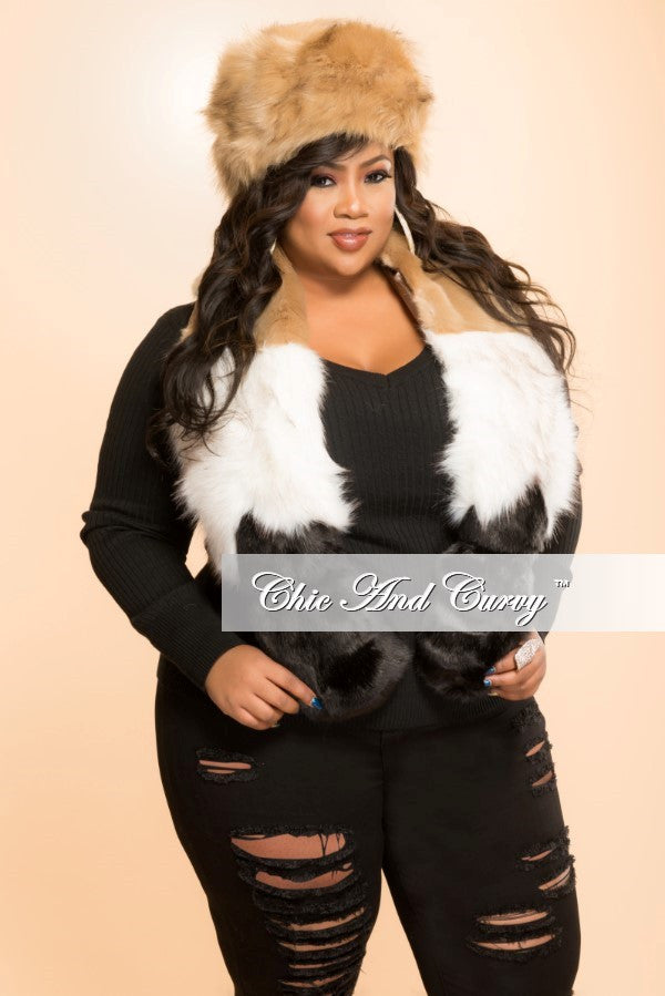 Final Sale Faux Fur Hat and Scarf 2-Piece Set in White, Tan and Black