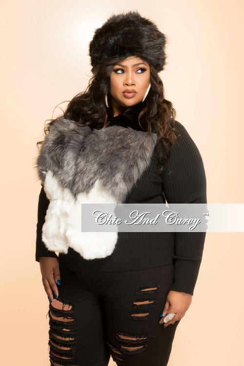 Final Sale 2pc Faux Fur Hat and Scarf Set in Black, White and Grey