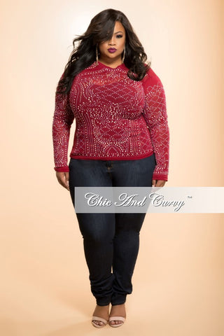 Final Sale Plus Size Sheer Top with Embellished Design in Burgundy