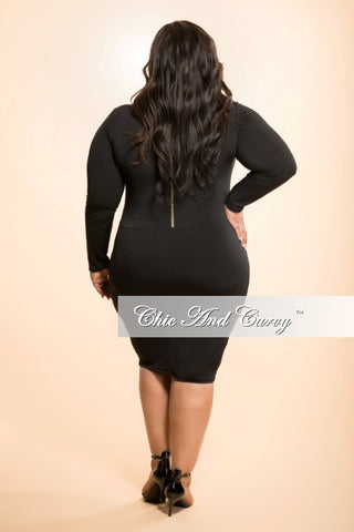 New Plus Size BodyCon Dress with Bust Cutout in Black