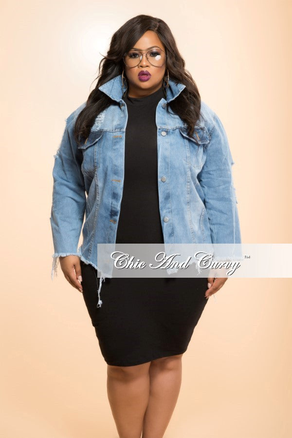 New Plus Size Distressed Jacket with Button Front in   Light Denim
