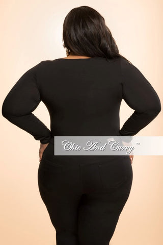 Final Sale Plus Size Top with Mesh Stripe Long Sleeves in Black