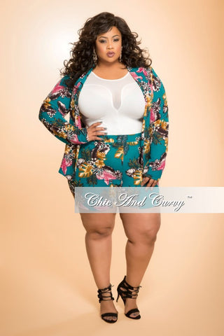 New Plus Size 2-Piece Jacket and Short Set in Teal and Pink Floral