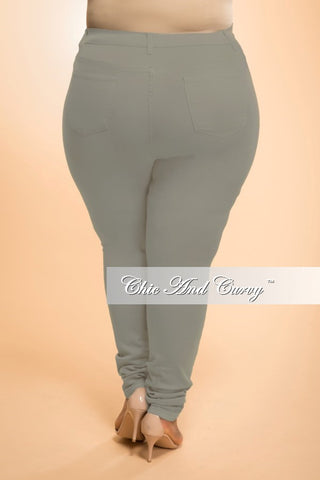 New Plus Size Distressed Jeans in Olive Green