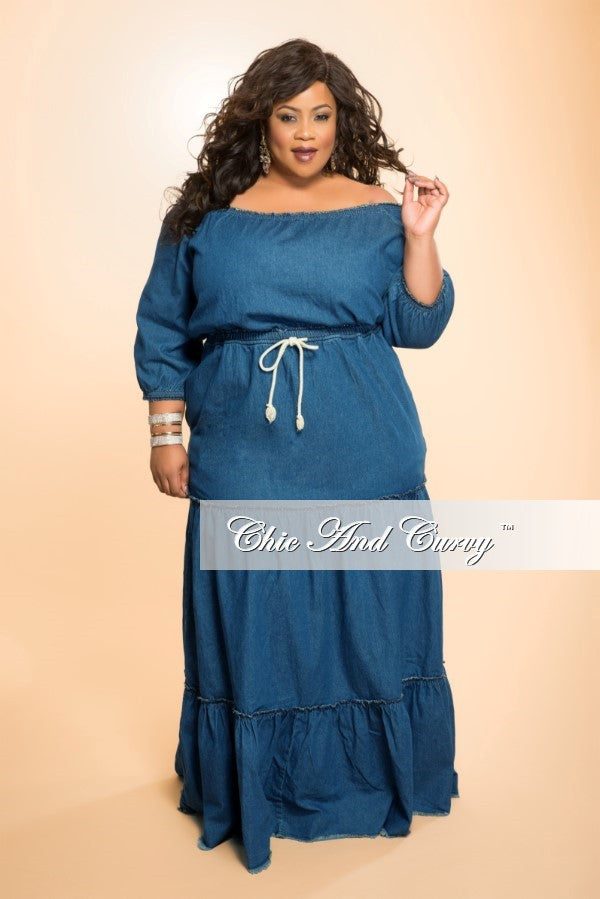 New Plus Size Off the Shoulder Dress in Denim – Chic And Curvy