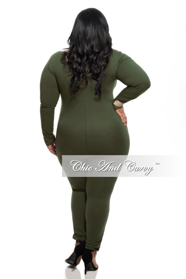 New Plus Size Unitard (One-Piece) with Long Sleeves in Olive Green