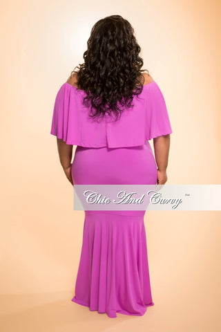 FInal Sale Plus Size 2-Piece Set with Off the Shoulder Crop Top & Long Skirt in Lilac