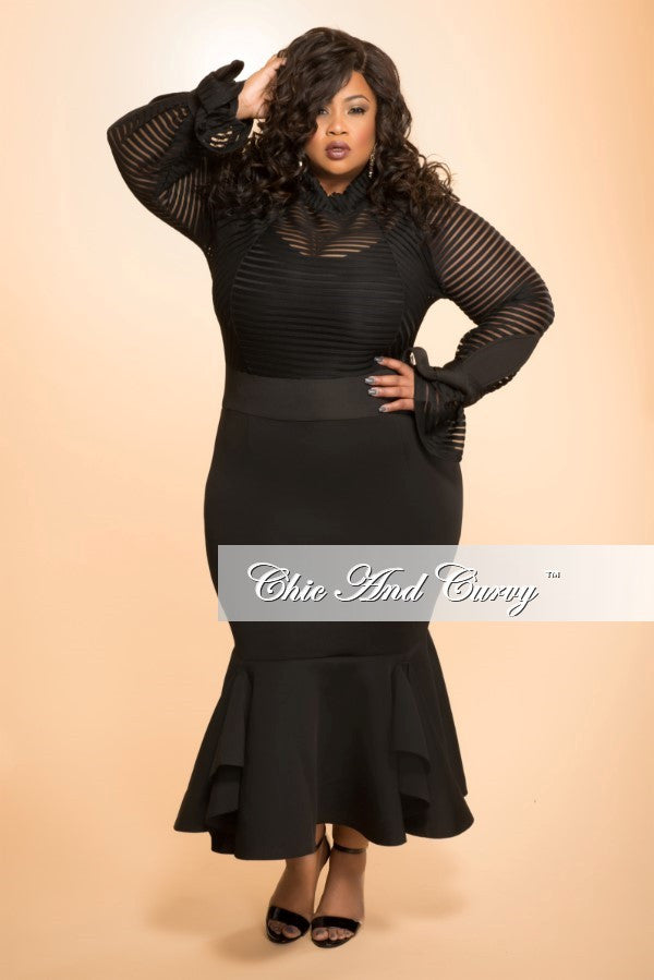 New Plus Size BodyCon Dress with Mesh Stripe Top and Mermaid Bottom in Black