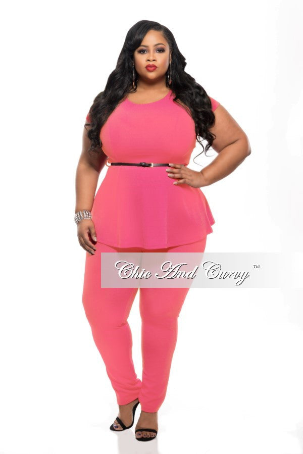 30fe273f76a Final Sale Plus Size 2-Piece Set with Peplum Top and Long Pants in Hig –  Chic And Curvy