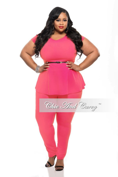 Final Sale Plus Size 2-Piece Set with Peplum Top and Long Pants in Highlighter Neon Pink