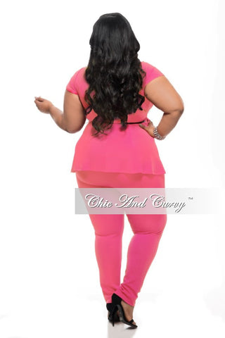 New Plus Size 2-Piece Set with Peplum Top and Long Pants in Neon Pink