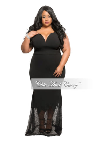 New Plus Size BodyCon Off the Shoulder Gown with Lace Bottom in Black