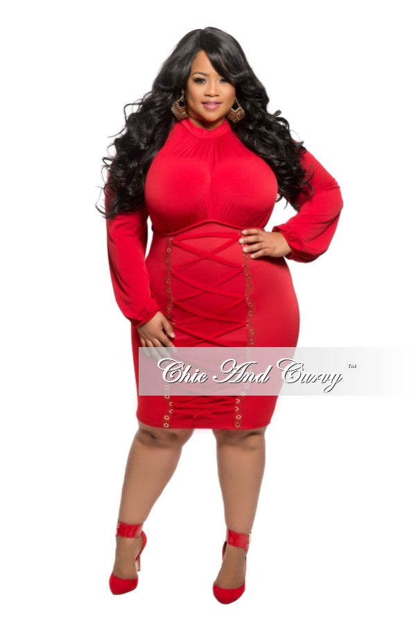 New Plus Size BodyCon Dress with Bust Lace Up in Red
