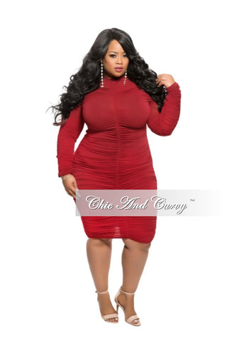 New Plus Size BodyCon Dress with Long Sleeves and Ruched Center in Burgundy