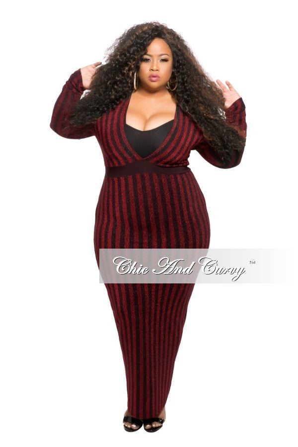 Final Sale Plus Size BodyCon Long Sheer Dress with Deep V in Black and Red  Shimmer