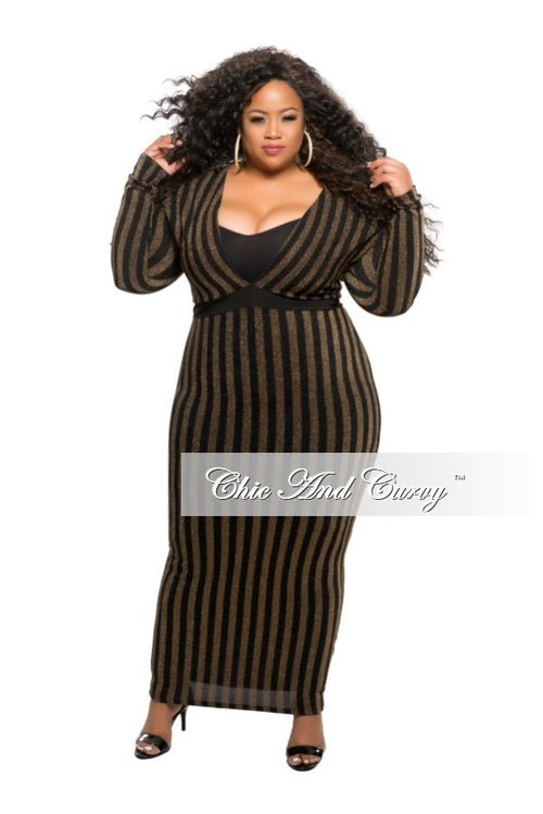 Final Sale Plus Size BodyCon Long Sheer Dress with Deep V in Black and Gold Shimmer