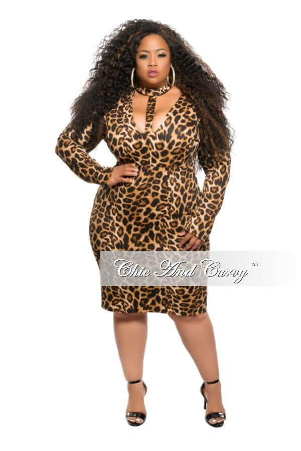 New Plus Size Bodycon Dress with Choker in Animal Print