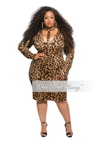 50% Off Sale - Final Sale Plus Size Bodycon Dress with Choker in Animal Print