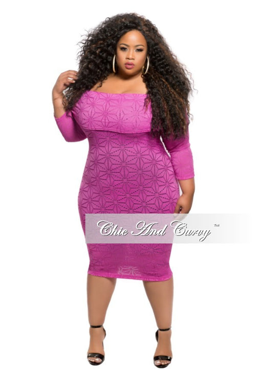 New Plus Size Off the Shoulder Lace Dress in Magenta