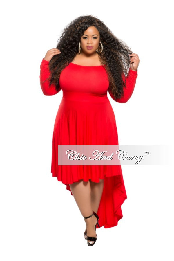 New Plus Size Off the Shoulder Dress with High-Low Bottom in Red