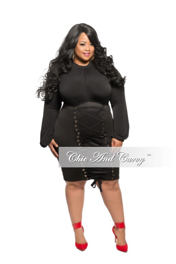 New Plus Size BodyCon Dress with Bust Lace Up in Black – Chic And ...