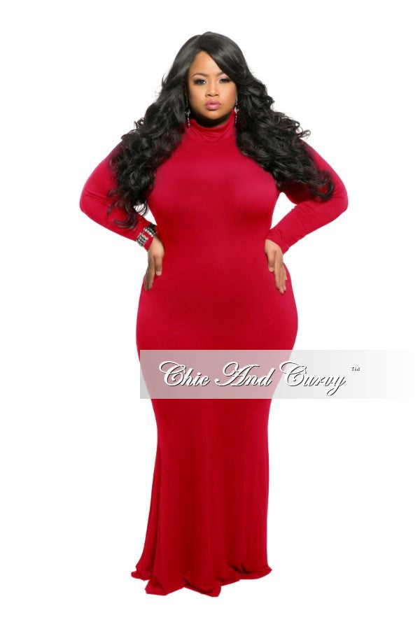 dbf2b76e57c New Plus Size BodyCon Long Dress with Mock Neck in Red – Chic And Curvy