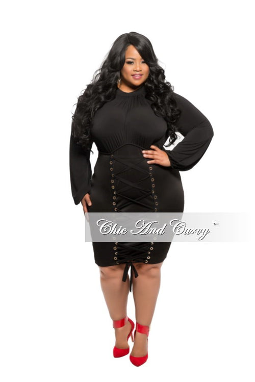 New Plus Size BodyCon Dress with Bust Lace Up in Black