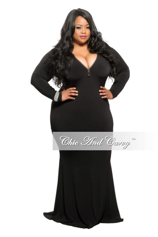 New Plus Size Bodycon Gown with Front Gold Zipper in Black